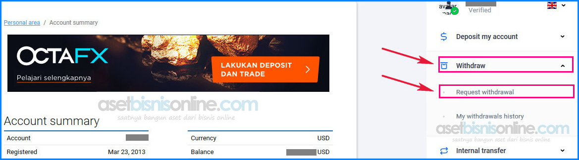 cara penarikan dana withdraw octafx ke bank 1 - Cara Withdrawal OctaFX Ke Bank Lokal Indonesia