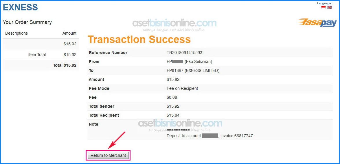 cara deposit exness dengan bank 10 - Cara Deposit Exness Melalui Fasapay