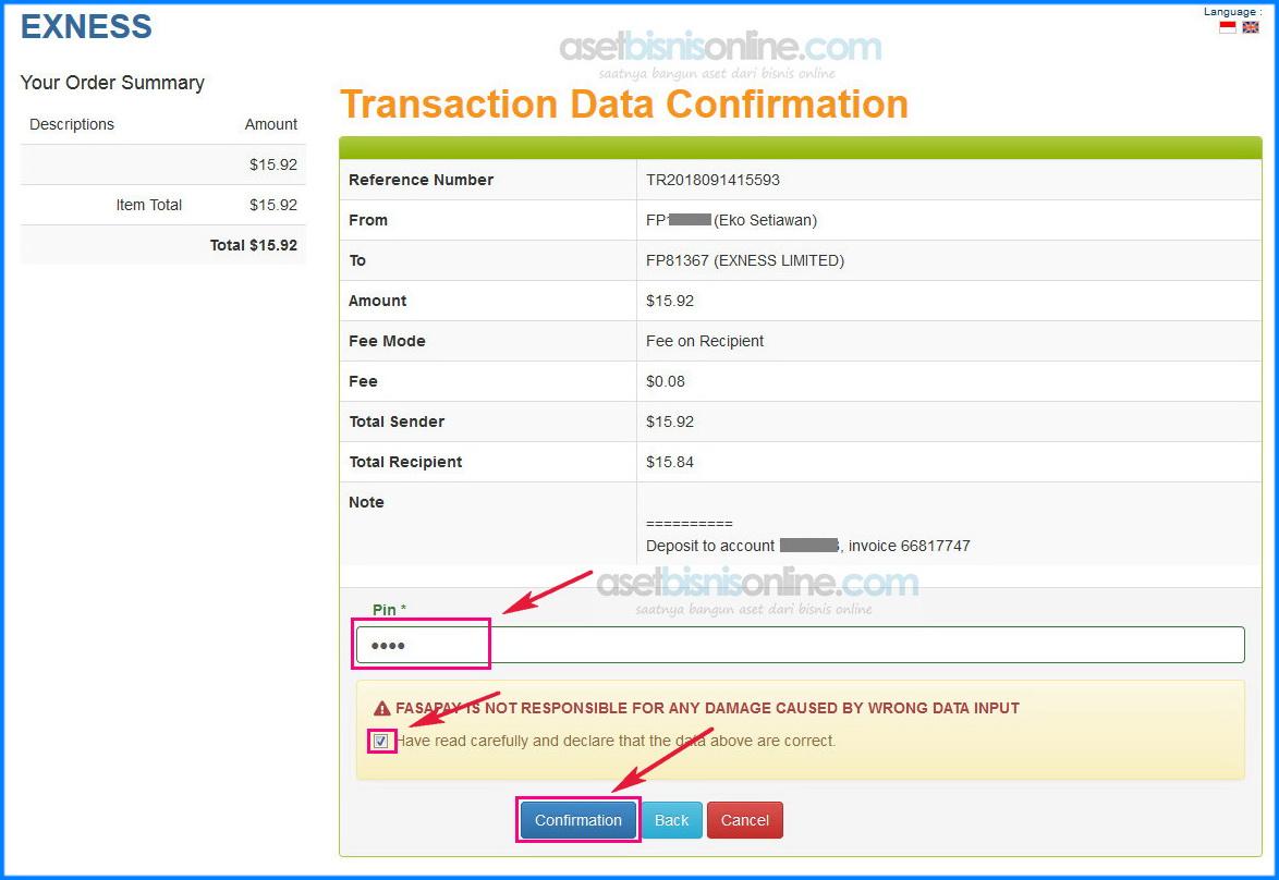 cara deposit exness dengan bank 9 - Cara Deposit Exness Melalui Fasapay
